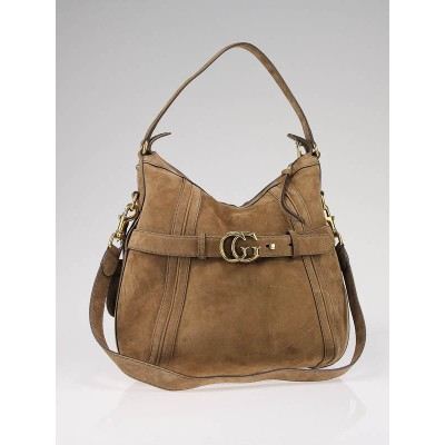 Gucci Brown Suede 'GG Running' Medium Double G Hobo Bag
