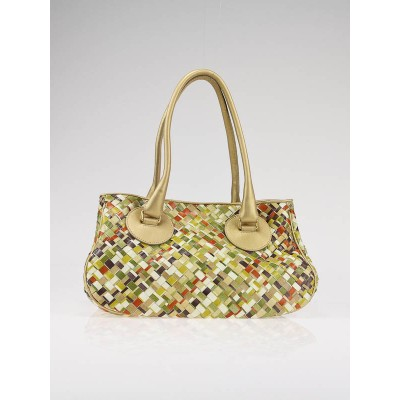 Bottega Veneta Multicolor Woven Small Satchel Bag