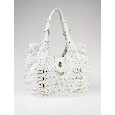 Jimmy Choo White Perforated Leather Bardia Buckle XL Bag