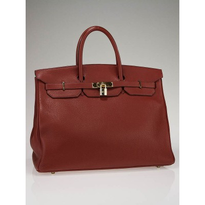 Hermes 40cm Rouge H Clemence Leather with Gold Plated Hardware Birkin Bag