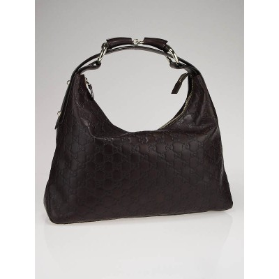 Gucci Dark Brown Guccissima Leather Horsebit Chain Medium Hobo Bag