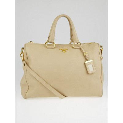 Prada Talco Vitello Daino Leather Top Handle Bauletto Tote Bag