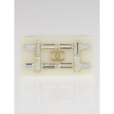 Chanel White Resin and Crystal CC Ring Size 6