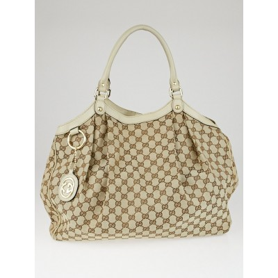 Gucci Beige/White GG Canvas Large Sukey Tote Bag