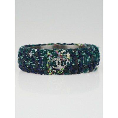 Chanel Navy Blue Tweed CC Bangle Bracelet Size M
