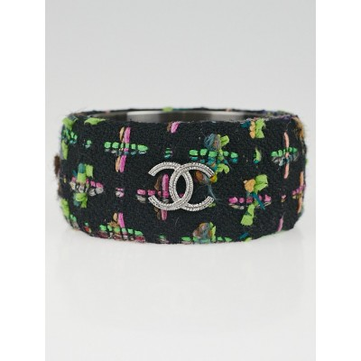 Chanel Black Tweed CC Extra Wide Bangle Bracelet Size M