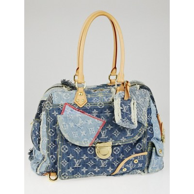 Louis Vuitton Limited Edition Blue Denim Monogram Denim Patchwork Bowly Bag
