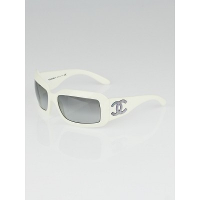Chanel White Frame Mother of Pearl CC Logo Sunglasses- 5076-H