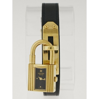 Hermes Black Courchevel Leather Gold Plated Kelly PM Watch