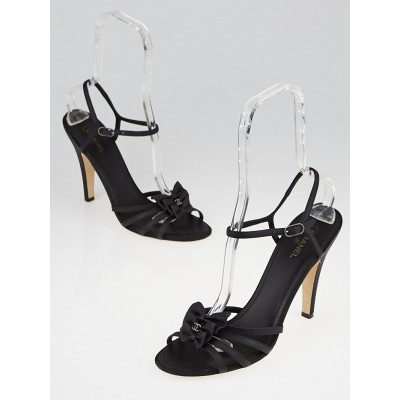 Chanel Black Leather Strappy Bow Sandals Size 11.5/42