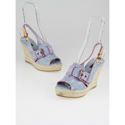 Louis Vuitton Light Blue Denim Monogram Denim Peep-Toe Wedges Size 8.5/39
