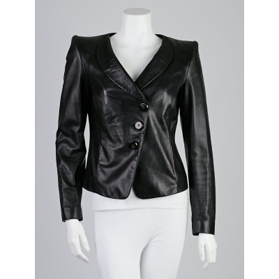 Armani Collezioni Black Lambskin Leather Asymmetrical Leather Jacket Size 6