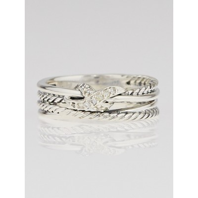 David Yurman Sterling Silver and Diamond 'X' Crossover Ring Size 7