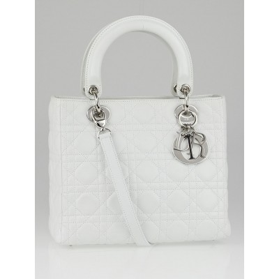 Christian Dior White Cannage Quilted Lambskin Leather Medium Lady Dior Bag