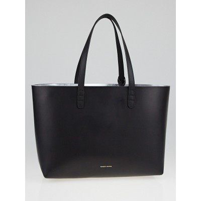 Mansur Gavriel Black/Argento Leather Small Tote Bag