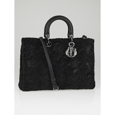 Christian Dior Black Mink Fur Large Diorissimo Bag