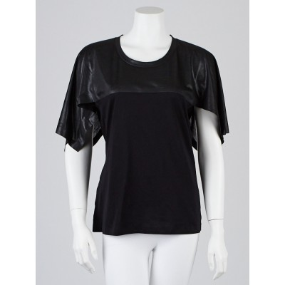 Balenciaga Black Leather/Polyester Draped-Sleeve Top Size L