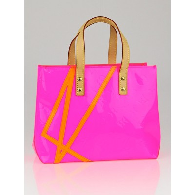 Louis Vuitton Limited Edition Robert Wilson Fluo Rose Monogram Vernis Reade PM Tote Bag