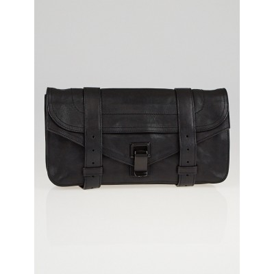 Proenza Schouler Black Leather PS1 Pochette Clutch Bag