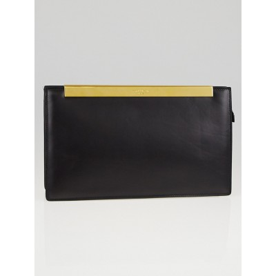 Saint Laurent Black Leather Lutetia Clutch Bag