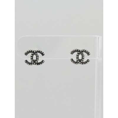 Chanel Gunmetal CC Logo Stud Earrings