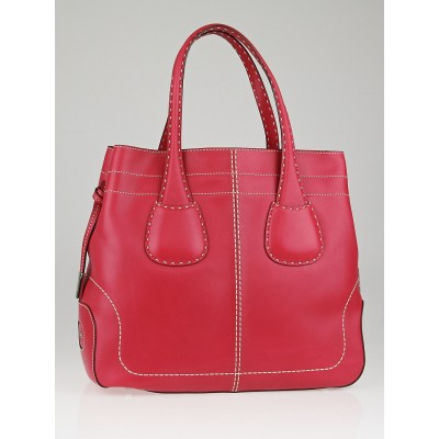 Tod's Pink Leather Rounded D-Bag 2 Manici Media Tote Bag