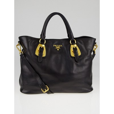 Prada Black Soft Calfskin Leather Shopping Tote BN1902