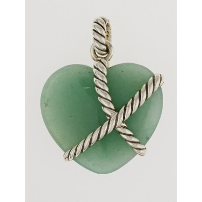 David Yurman Sterling Silver and Green Jade Heart Pendant