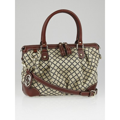 Gucci Beige/Blue Diamante Canvas Sukey Tote Bag
