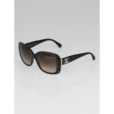 Chanel Tortoise Shell Square Frame CC Sunglasses-5234-Q