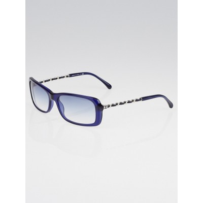 Chanel Blue Frame Chain-Link Sunglasses-5209Q