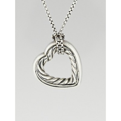 David Yurman Sterling Silver and 18k Gold Cable Heart Pendant Necklace