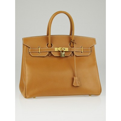 Hermes 35cm Gold Ardennes Leather Gold Plated Birkin Bag