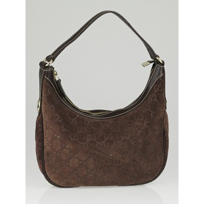 Gucci Brown Guccissima Suede Small Hobo Bag