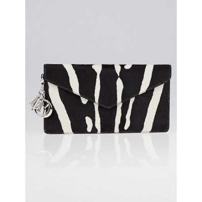 Christian Dior Black/White Zebra Print Pony Hair Diorissimo Envelope Clutch Bag