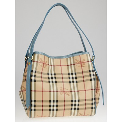 Burberry Blue Patent Leather Haymarket Check Coated Canvas Small Canter Tote Bag