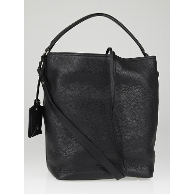 Burberry Black Pebbled Leather Bucket Bag