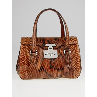 Gucci Brown Python Lady Lock Small Top Handle Bag
