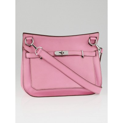Hermes 28cm Rose Sakura Swift Leather Palladium Plated Jypsiere Bag