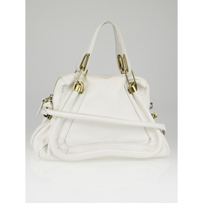 Chloe White Pebbled Calfskin Leather Medium Paraty Bag