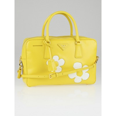 Prada Girasole Yellow Saffiano Vernice Patent Leather Flower Top ...