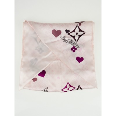 Louis Vuitton Pink Monogram and Hearts Silk Bandeau Scarf