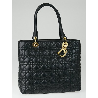 Christian Dior Black Quilted Cannage Leather Large Lady Dior Tote Bag