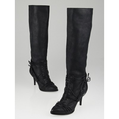 Givenchy Black Nubuck Leather Knee High Boots Size 6.5/37