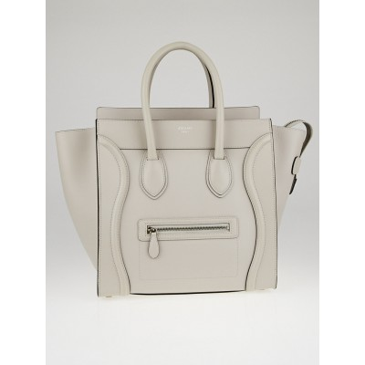 Celine Pearl Grey Smooth Calfskin Leather Mini Luggage Tote Bag