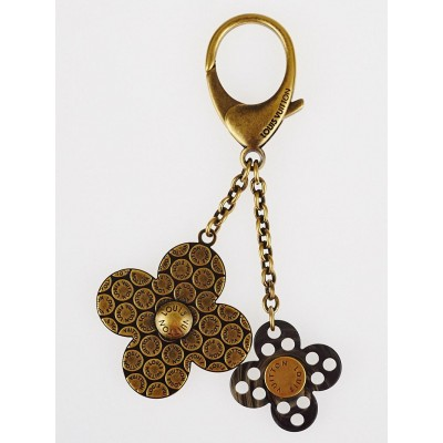Louis Vuitton Antique Brass/Black Rock Flower Key Chain and Bag Charm
