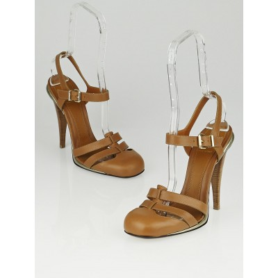 Fendi Brown Leather Closed Toe Sandals Size 10/40.5