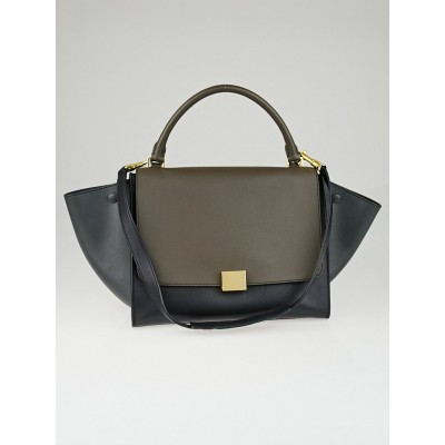 Celine Anthracite Tri-Color Smooth Calfskin Leather Medium Trapeze Bag