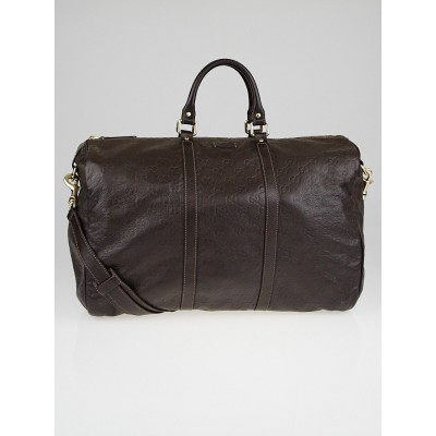Gucci Dark Brown Guccissima Leather Carry-On Duffle Travel Bag