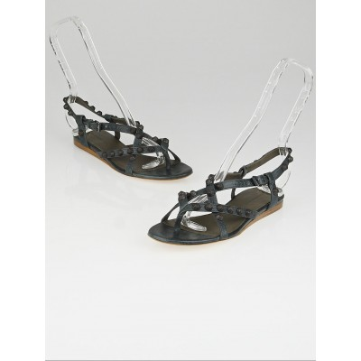 Balenciaga Anthracite Lambskin Leather Arena Strappy Flat Thong Sandals Size 6.5/37